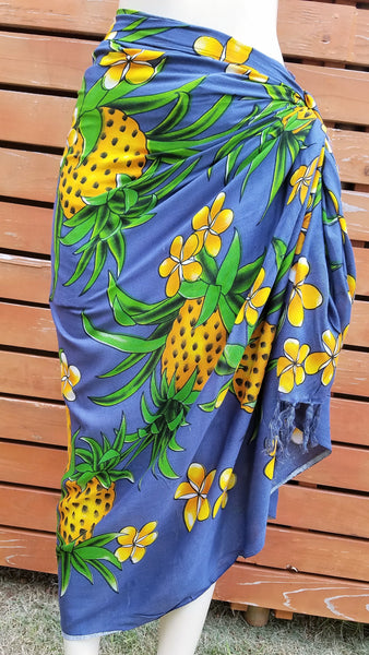 Screen Printed Full Sarong - Pineapple Frenzy - Dark Gray, Lime, Purple, Red, White