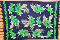 Screen Printed Full Sarong - Plumeria Bouquet - Blue, Green, Purple