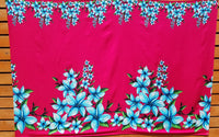 Printed Full Sarong - Plumeria - Black, Blue, Pink, Red, Yellow