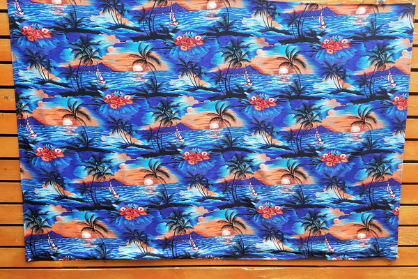 Printed Full Sarong - Sunset - Blue, Red