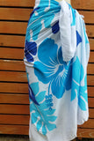 Screen Printed Full Sarong - Tri Hibiscus - Lime, Turquoise, Yellow/Black