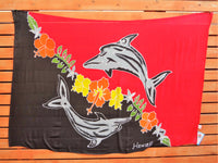 Screen Printed Full Sarong - Tribal Dolphin - Black/Red, Black/Turquoise, Black/White, Blue/Turquoise