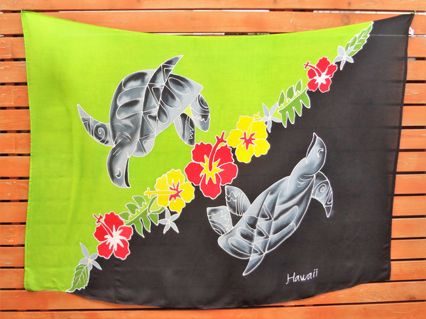 Screen Printed Full Sarong - Tribal Turtle - Lime/Black, Turquoise/Black, White/Black, White/Pink