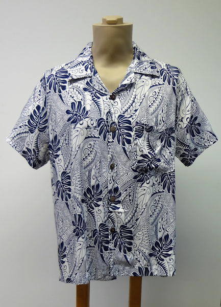 Men's Aloha Shirt - Tribal Vibe - Navy Blue