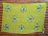 Screen Printed Full Sarong - Turtle - Black, Blue, Gold, Lime, Turquoise, White