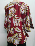 Poncho Top -- Waving Palms   -  White Maroon Black