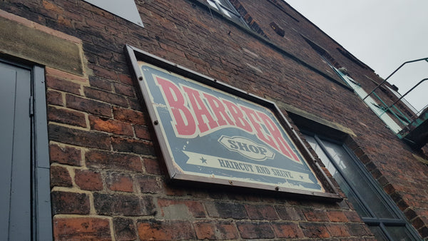 Custom metal sign for barbers barbershop with rust look