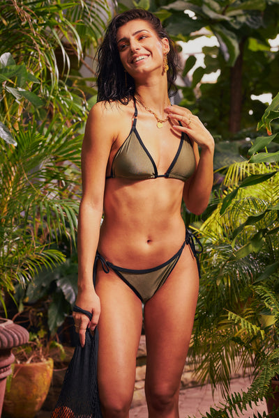 women wearing triangle bikini top and laced side bottom in khaki colour and black trim