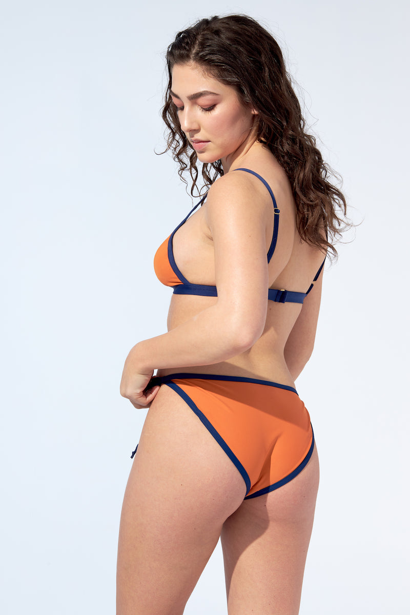 Orange with navy blue piping bikini set