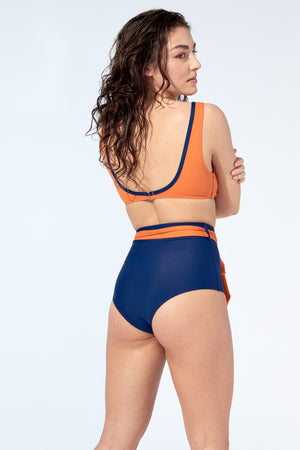 FLORENCE – Bikini high waist bottom with belt in night blue