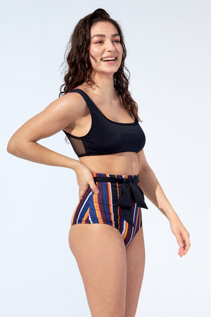 FLORENCE – Bikini high waist bottom with belt in stripe print