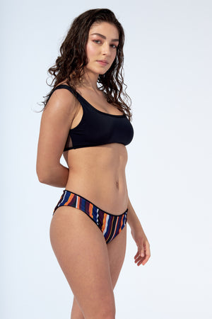 ERICA REVERSIBLE -Bikini bottom in Black and stripe print