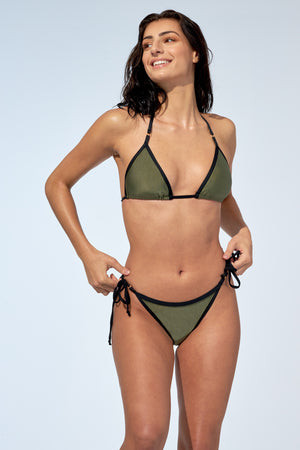 Triangle bikini top named Roxanne with tied side bikini bottom called Rebecca. Bikini set in a shinny khaki colour with black trims.
