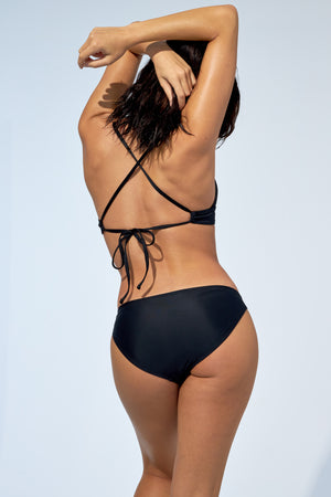 Women wearing black bikini set