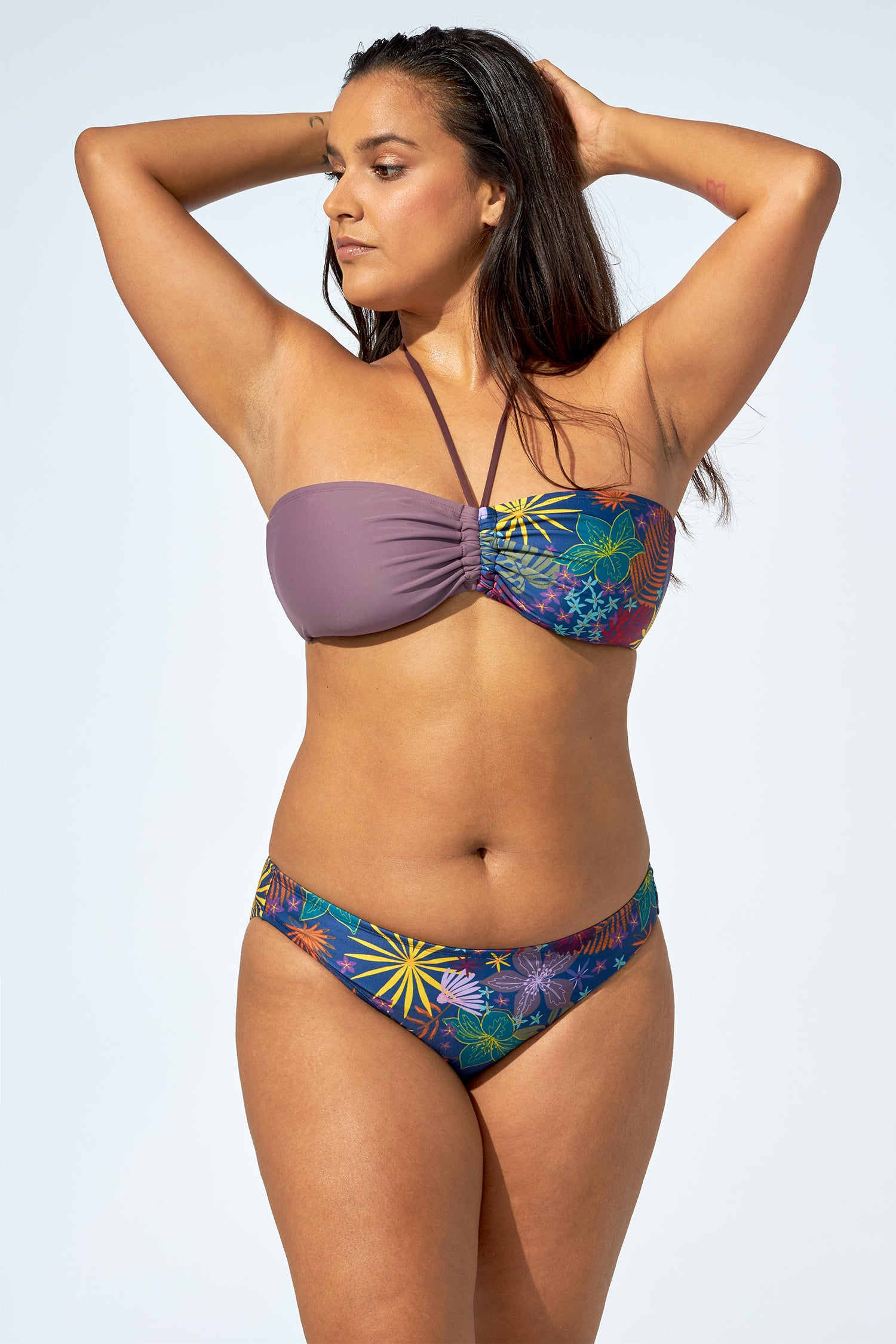 ELLA - Bikini top in soft purple & flower print
