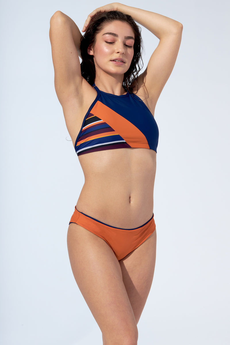 ERICA REVERSIBLE -Bikini bottom in orange and night blue