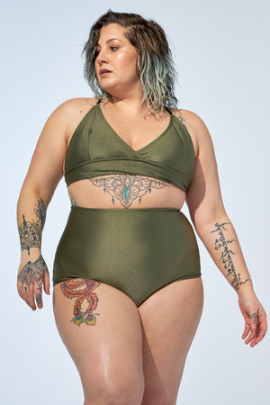 FLORENCE – High waist bikini bottom in shiny khaki