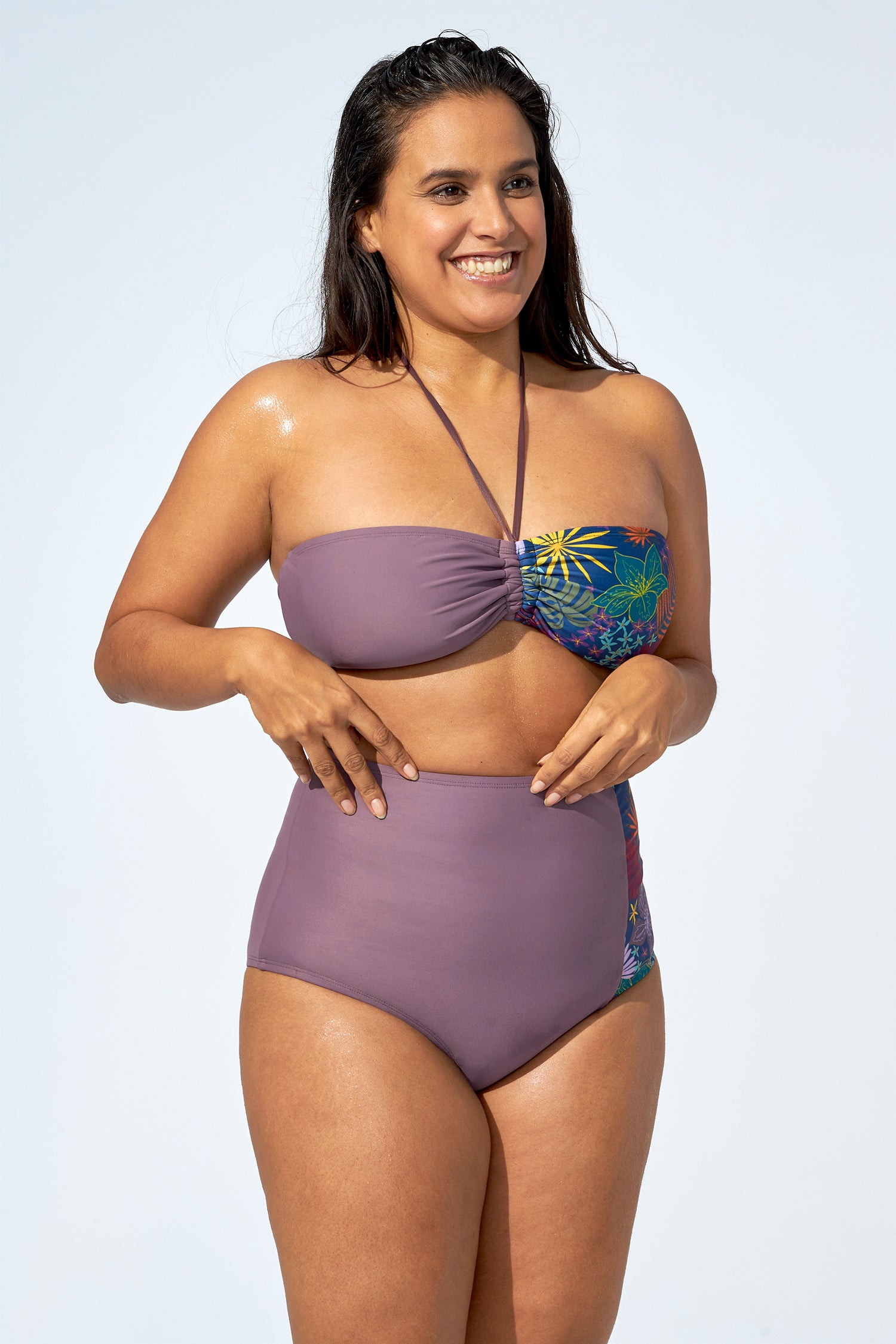 FLORENCE – High waist bikini bottom in purple & flower print