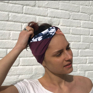 Twisted headband - color block pink/burgundy/tie dye