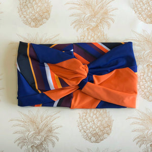 Twisted headband - color block orange/navy/stripes