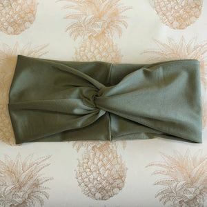 twisted headband in khaki colour