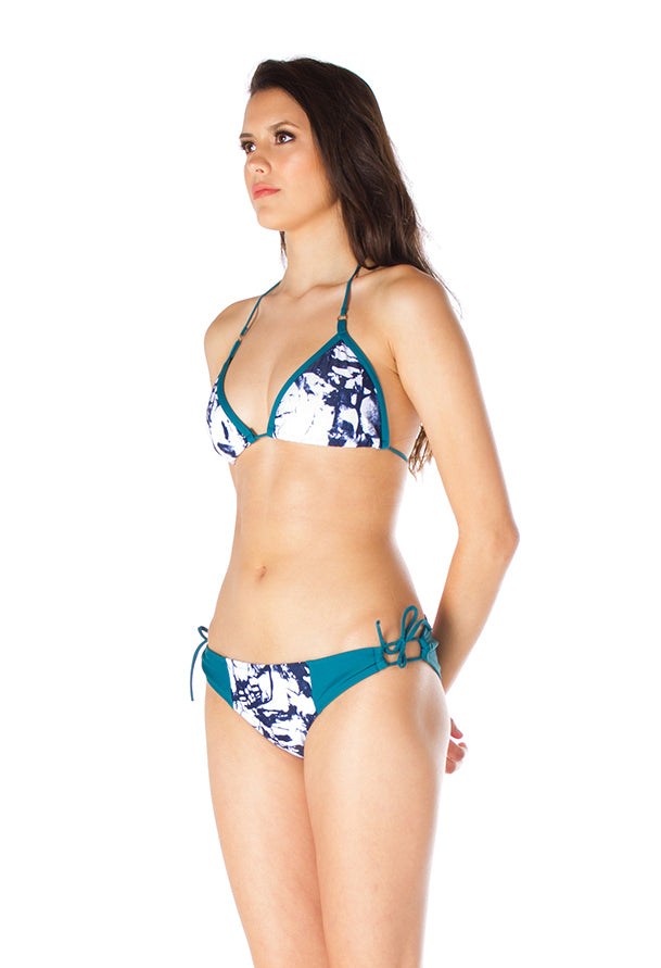 CHLOÉ – Bikini bottom in Turquoise and ink print