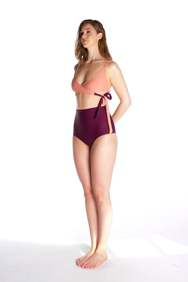 FLORENCE – Bikini high waist bottom in Burgundy