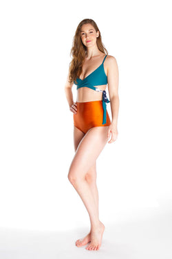 FLORENCE – Bikini high waist bottom in bronze orange