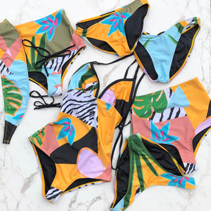 MARINA - Strapless bikini top in tropical print