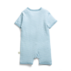Load image into Gallery viewer, SHORT SLEEVE ZIPSUIT - BLUE STRIPES