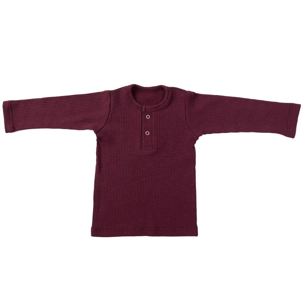 Load image into Gallery viewer, RIBBED HENLEY - MULBERRY