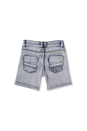 KNIT DENIM SHORT - DENIM