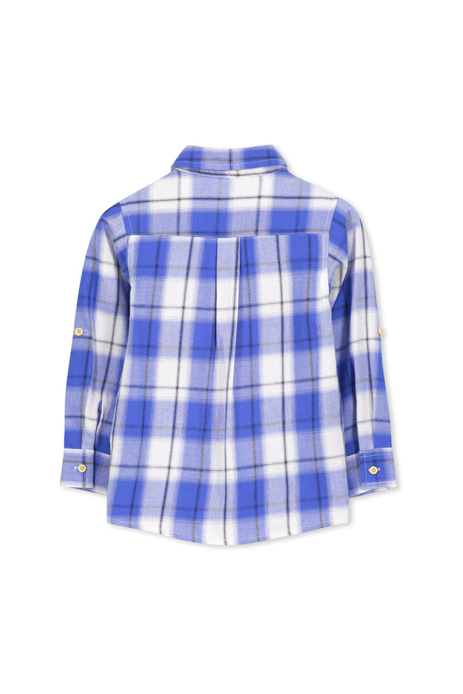CHECK SHIRT - MID BLUE