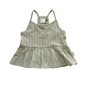 GIRLS RACER BACK FLOATY TOP - DUSTY OLIVE