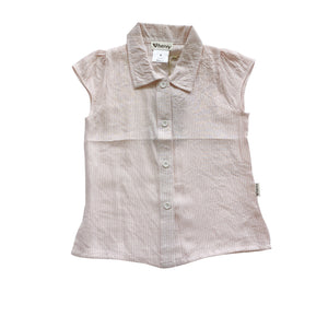 Load image into Gallery viewer, GIRLS SHORT SLEEVE BLOUSE - FINE PINK STRIPE