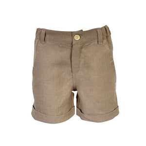Love Henry - Boys  Dress Shorts - Tan Linen
