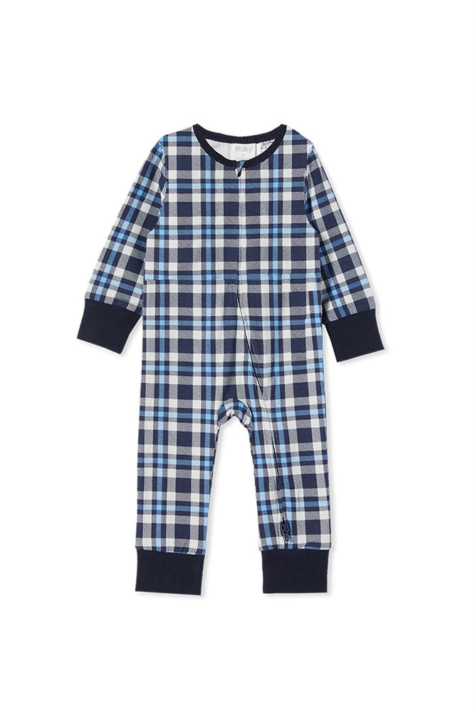 BABY CHECK SLEEP ROMPER - ICE GREY