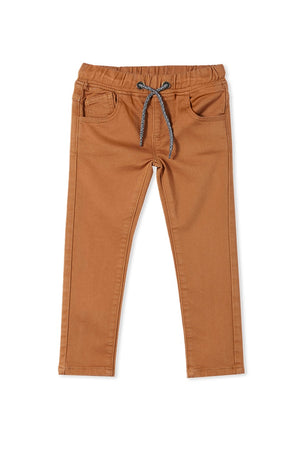KNIT DENIM JEANS - OCHRE