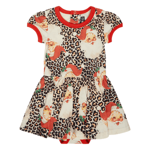 Load image into Gallery viewer, LEOPARD SANTA BABY WAISTED DRESS