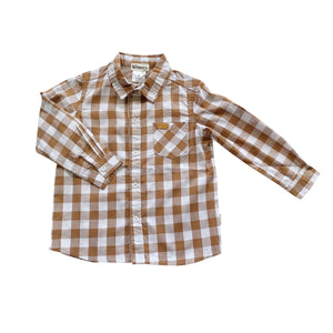 Load image into Gallery viewer, BOYS DRESS SHIRT - LARGE BRONZE CHECK