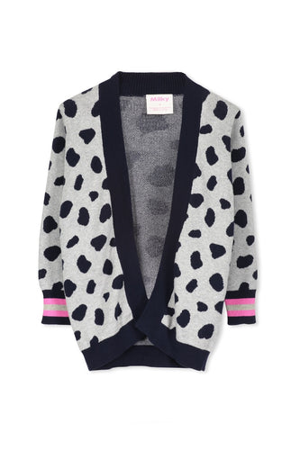 LEOPARD CARDIGAN - GREY/NAVY