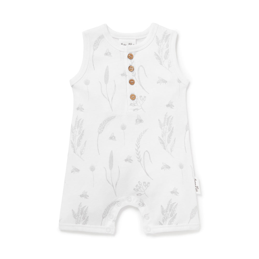 Load image into Gallery viewer, BEE HENLEY ROMPER - WHITE