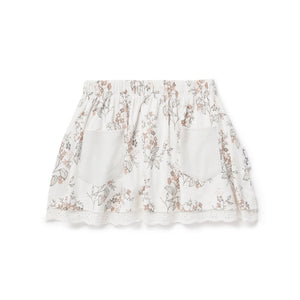SUMMER FLORAL LACE SKIRT - WHITE ALYSSUM