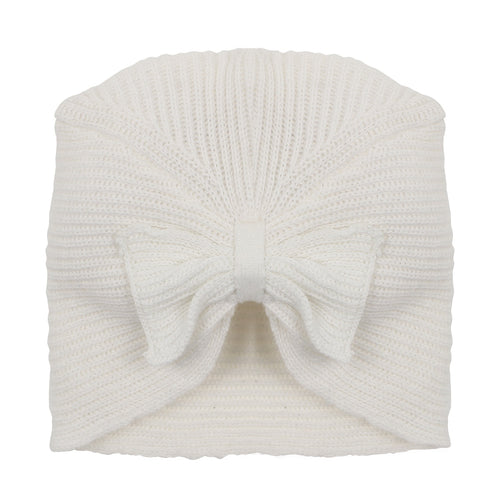 LAYLA BOW KNIT BEANIE - CLOUD