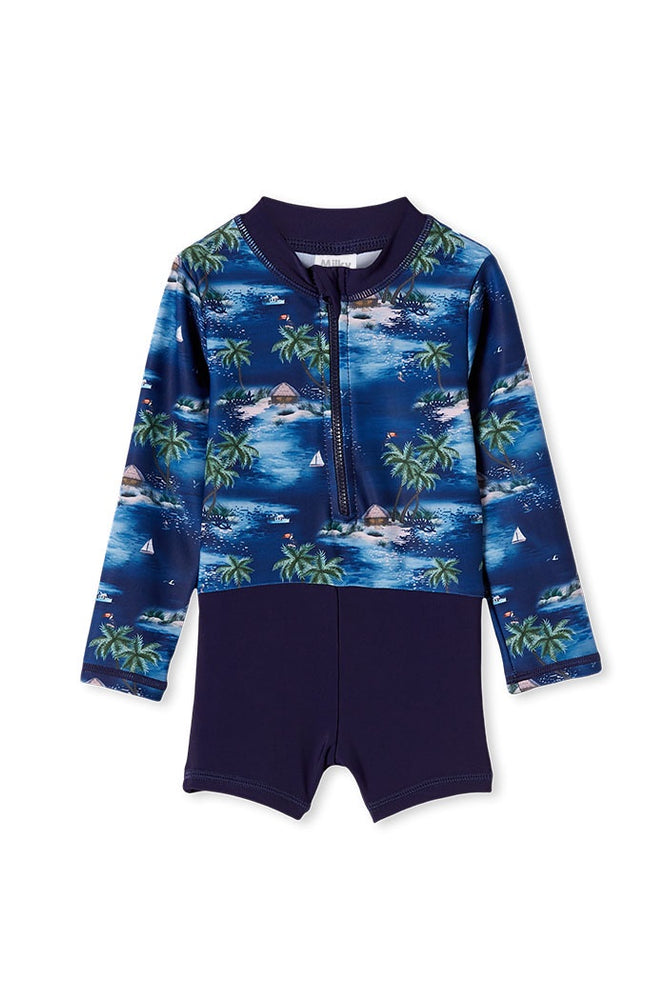 Load image into Gallery viewer, HAWAIIAN L/S SWIMSUIT - STEEL BLUE