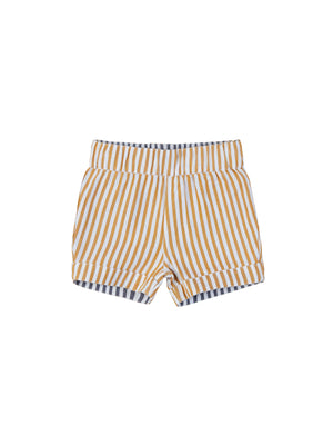Load image into Gallery viewer, REVERSIBLE CHINO SHORT - REVERSIBLE NAVY + MUSTARD STRIPE