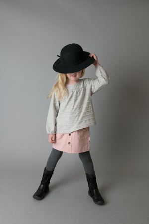 BUTTON FRONT SKIRT - PINK KNIT