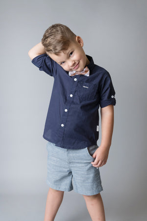 Load image into Gallery viewer, BOYS DRESS  SHORTS - DARK CHAMBRAY