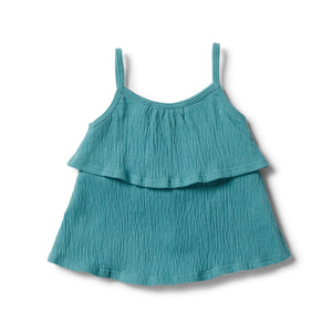 Load image into Gallery viewer, CRINKLE RUFFLE TANK - CALYPSO