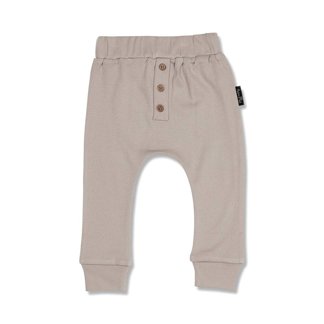 BUTTON SLOUCH PANT - TAUPE